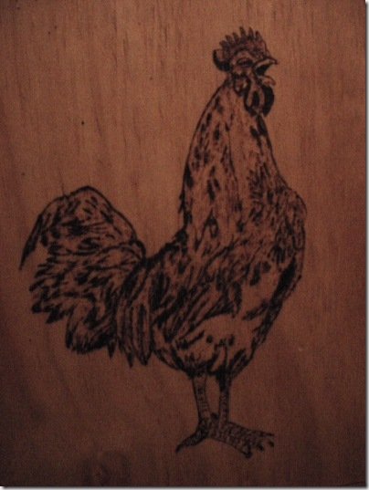 Rooster woodburning